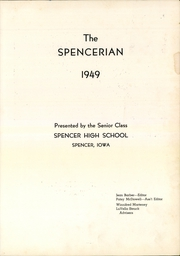 Page 5, 1949 Edition, Spencer High School - Spencerian Yearbook (Spencer, IA) online yearbook collection