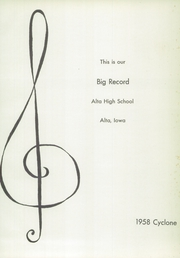 Page 5, 1958 Edition, Alta Community High School - Cyclone Yearbook (Alta, IA) online yearbook collection
