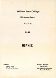 Page 3, 1959 Edition, William Penn University - Quaker Yearbook (Oskaloosa, IA) online yearbook collection