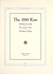 Page 7, 1916 Edition, Washburn University - Kaw Yearbook (Topeka, KS) online yearbook collection