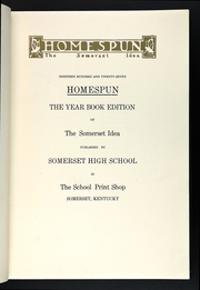 Page 13, 1927 Edition, Somerset High School - Homespun Yearbook (Somerset, KY) online yearbook collection