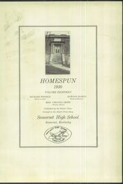 Page 5, 1930 Edition, Somerset High School - Homespun Yearbook (Somerset, KY) online yearbook collection