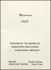 Page 5, 1958 Edition, Bardstown High School - Memories Yearbook (Bardstown, KY) online yearbook collection