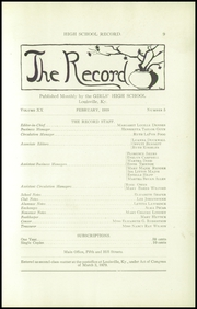 Page 11, 1918 Edition, Louisville Girls High School - Record Yearbook (Louisville, KY) online yearbook collection