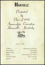 Page 5, 1952 Edition, Immaculate Conception High School - Marivale Yearbook (Hawesville, KY) online yearbook collection