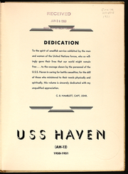 Page 3, 1951 Edition, Haven (AH 12) - Naval Cruise Book online yearbook collection