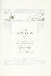 Page 11, 1927 Edition, Occidental College - La Encina Yearbook (Los Angeles, CA) online yearbook collection