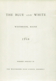 Page 5, 1948 Edition, Westbrook High School - Blue and White Yearbook (Westbrook, ME) online yearbook collection