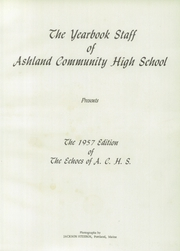 Page 5, 1957 Edition, Ashland High School - Echoes Yearbook (Ashland, ME) online yearbook collection