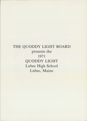 Page 5, 1971 Edition, Lubec High School - Quoddy Light Yearbook (Lubec, ME) online yearbook collection