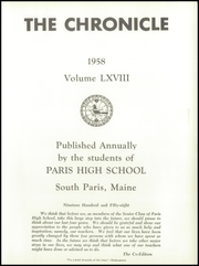 Page 5, 1958 Edition, Paris High School - Chronicle Yearbook (South Paris, ME) online yearbook collection