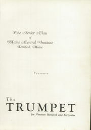 Page 5, 1949 Edition, Maine Central Institute - Trumpet Yearbook (Pittsfield, ME) online yearbook collection