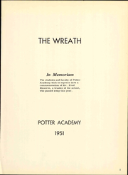 Page 7, 1951 Edition, Potter Academy - Wreath Yearbook (Sebago Lake, ME) online yearbook collection