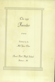 Page 7, 1931 Edition, Forest Park High School - Forester Yearbook (Baltimore, MD) online yearbook collection