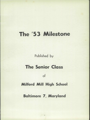 Page 7, 1953 Edition, Milford Mill High School - Milestone Yearbook (Baltimore, MD) online yearbook collection