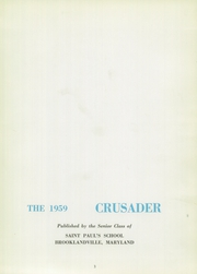 Page 7, 1959 Edition, St Pauls School - Crusader Yearbook (Brooklandville, MD) online yearbook collection