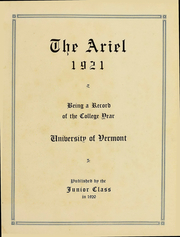 Page 4, 1921 Edition, University of Vermont - Ariel Yearbook (Burlington, VT) online yearbook collection