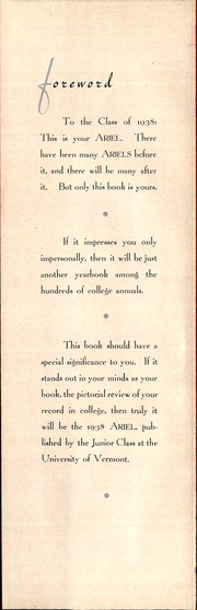 Page 6, 1938 Edition, University of Vermont - Ariel Yearbook (Burlington, VT) online yearbook collection