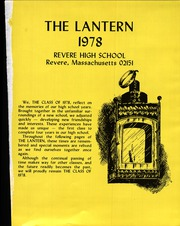Page 5, 1978 Edition, Revere High School - Lantern Yearbook (Revere, MA) online yearbook collection