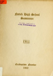 Page 1, 1922 Edition, Natick High School - Sassamon Yearbook (Natick, MA) online yearbook collection