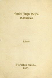 Page 1, 1925 Edition, Natick High School - Sassamon Yearbook (Natick, MA) online yearbook collection
