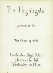 Page 13, 1958 Edition, Dorchester High School - Yearbook (Dorchester, MA) online yearbook collection