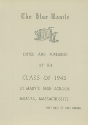 Page 7, 1943 Edition, St Marys High School - Blue Mantle Yearbook (Milford, MA) online yearbook collection