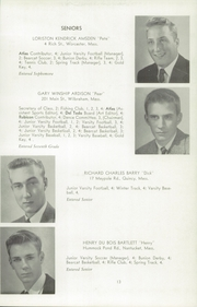 Page 17, 1956 Edition, Wilbraham and Monson Academy - Hill Yearbook (Wilbraham, MA) online yearbook collection