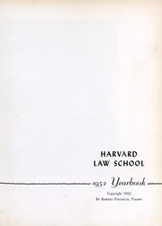 Page 2, 1952 Edition, Harvard Law School - Yearbook (Cambridge, MA) online yearbook collection