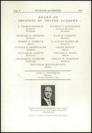 Page 12, 1948 Edition, Thayer Academy - Black and Orange Yearbook (Braintree, MA) online yearbook collection