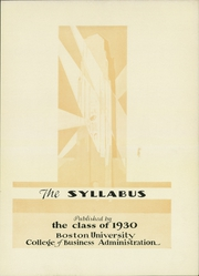 Page 7, 1930 Edition, Boston University School of Management - Syllabus Yearbook (Boston, MA) online yearbook collection