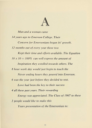 Page 12, 1967 Edition, Emerson College - Emersonian Yearbook (Boston, MA) online yearbook collection