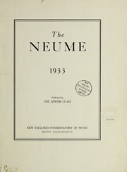 Page 1, 1933 Edition, New England Conservatory of Music - Neume Yearbook (Boston, MA) online yearbook collection