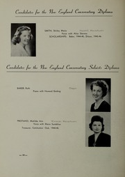 Page 18, 1946 Edition, New England Conservatory of Music - Neume Yearbook (Boston, MA) online yearbook collection