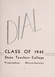 Page 7, 1945 Edition, Framingham State University - Dial Yearbook (Framingham, MA) online yearbook collection