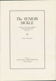 Page 5, 1919 Edition, Adrian High School - Sickle Yearbook (Adrian, MI) online yearbook collection