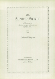 Page 7, 1927 Edition, Adrian High School - Sickle Yearbook (Adrian, MI) online yearbook collection