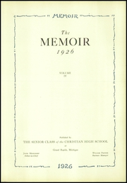 Page 5, 1926 Edition, Grand Rapids Christian High School - Memoir Yearbook (Grand Rapids, MI) online yearbook collection