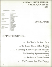 Page 5, 1958 Edition, Lincoln High School - Commander Yearbook (Warren, MI) online yearbook collection