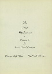 Page 5, 1952 Edition, Madison High School - Madisonian Yearbook (Madison Heights, MI) online yearbook collection