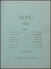Page 7, 1940 Edition, Allegan High School - Echo Yearbook (Allegan, MI) online yearbook collection