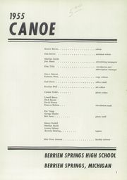 Page 5, 1955 Edition, Berrien Springs High School - Canoe Yearbook (Berrien Springs, MI) online yearbook collection