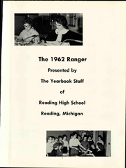 Page 9, 1962 Edition, Reading High School - Ranger Yearbook (Reading, MI) online yearbook collection