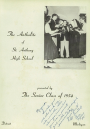 Page 7, 1954 Edition, St Anthony High School - Antholite Yearbook (Detroit, MI) online yearbook collection