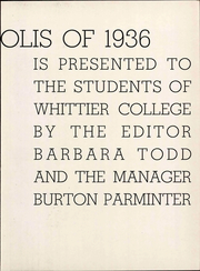 Page 11, 1936 Edition, Whittier College - Acropolis Yearbook (Whittier, CA) online yearbook collection