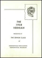 Page 7, 1958 Edition, Vermontville High School - Verhian Yearbook (Vermontville, MI) online yearbook collection