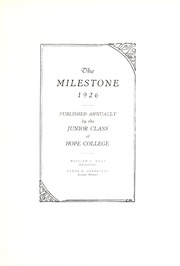 Page 7, 1926 Edition, Hope College - Milestone Yearbook (Holland, MI) online yearbook collection