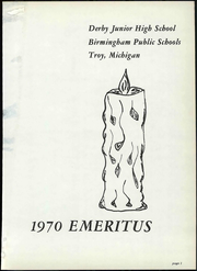 Page 7, 1970 Edition, Derby Middle School - Cycle Yearbook (Birmingham, MI) online yearbook collection