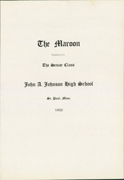 Page 7, 1922 Edition, John A Johnson High School - Maroon Yearbook (St Paul, MN) online yearbook collection