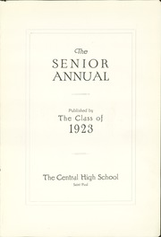 Page 5, 1923 Edition, Central High School - Cehisean Yearbook (St Paul, MN) online yearbook collection